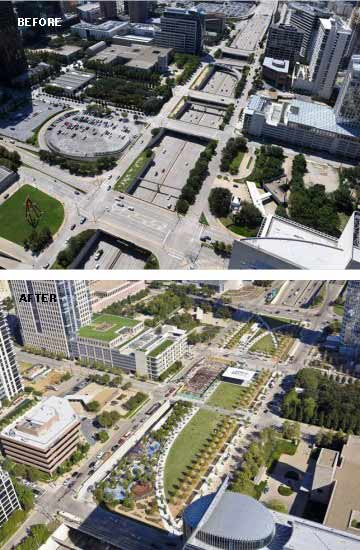 Klyde Warren Park over the Woodall Rodgers Freeway in Dallas, TX