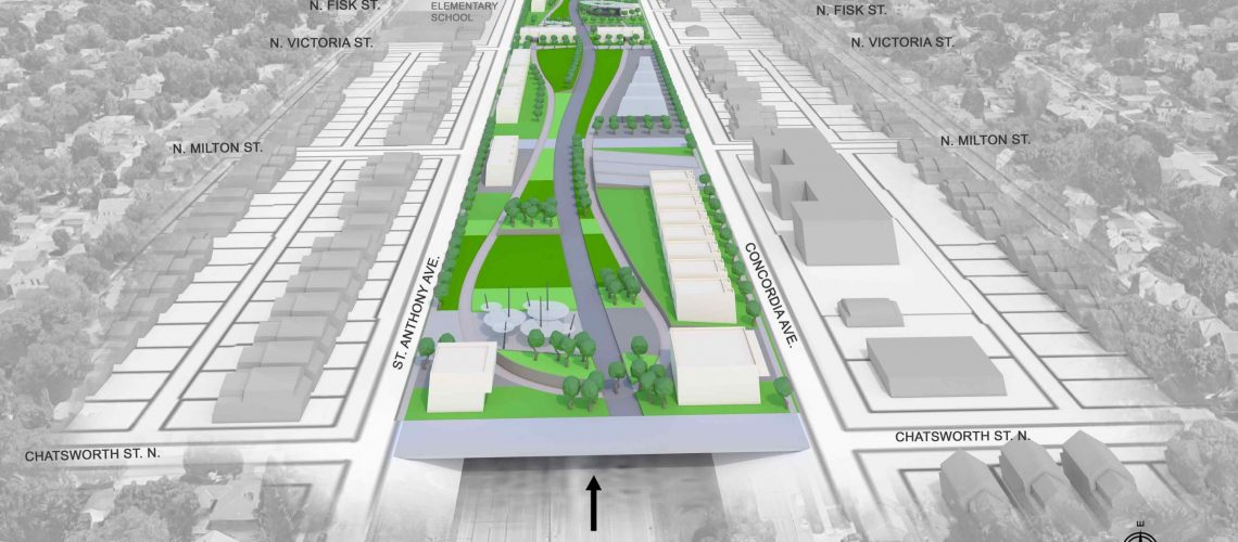 View of land bridge, looking eastward. Architectural renderings courtesy Design by Melo and Visuals by James.
